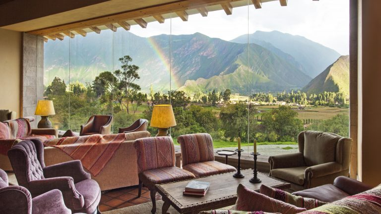 Stunning views from the lobby of Inkaterra Hacienda Urubamba